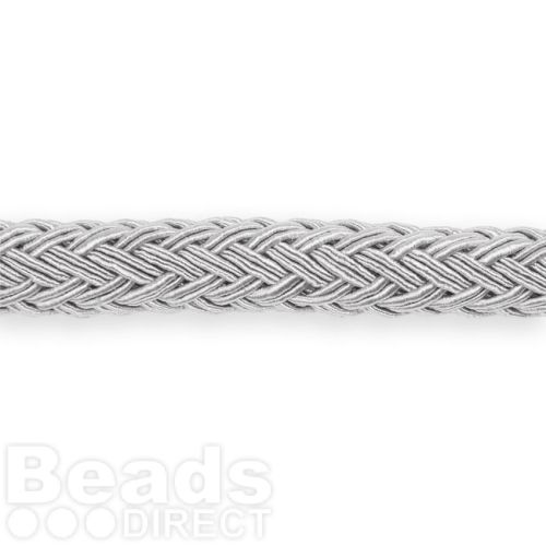 Grey Polyester Braided Chunky Cord 8x10mm 1 Metre