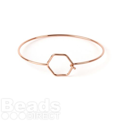 Rose Gold Plated Bangle Base Hexagon with Hook Fasten Pk1