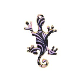 SweetCharm™ salamander / charm pendant / 34x22x2mm / KC gold-black / 2pcs