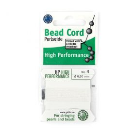 Griffin Perlseide 4 Bead Cord HP White 0.60mm with Needle 2m
