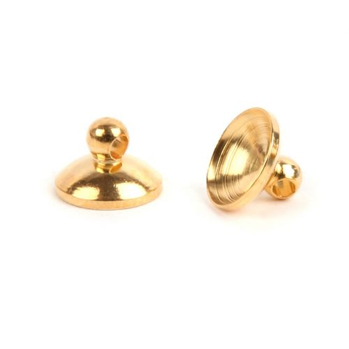 Gold Plated Brass Cup Ends 6mm (7mm Space) Pk10