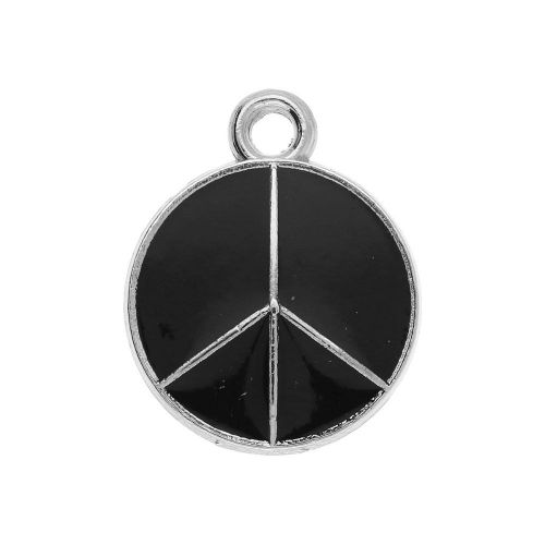 SweetCharm ™ Peace / charm pendant / 20x16x2.5mm / silver / black / 2pcs