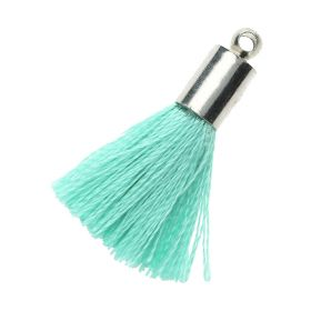 Tassel / viscose thread / silver end cap / 25mm / mint / 1pcs