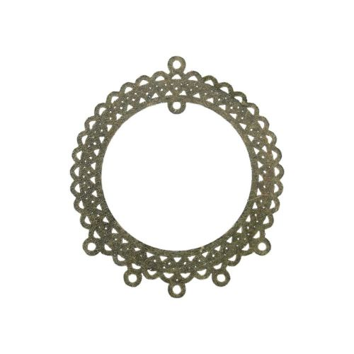 Necklace base / rosette / 69x60x1.5mm / antique bronze / hole 2mm / 1pcs