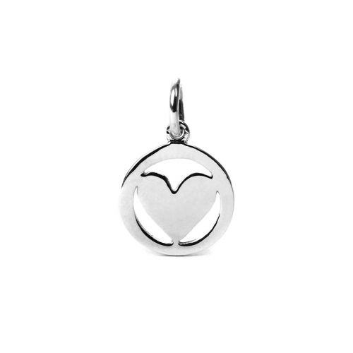 X-Sterling Silver 925 Heart Coin Charm 10mm Pk1