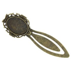 Bookmark with butterfly / with round cabochon base 18x25mm / 88mm / antique bronze / 1pcs