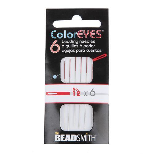 The Beadsmith ColorEYES Beading Needles Red Size 12 Pk6