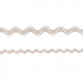 White & Stone Linen Zig Zag Cord 6mm 50cm Length