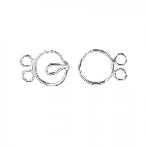 X Sterling Silver 925 2 Strand Round Hook 10mm Clasp Pk1