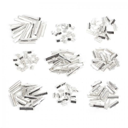 Silver Plated Ribbon Crimp End Mixed Sizes 6x8mm-8x35mm Pk180