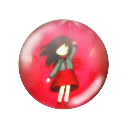 Glass cabochon with graphics 12mm PT1503 / red / 4pcs