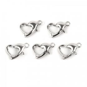 Silver Plated Heart Shape Lobster Clasp 7x10mm Pk5