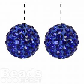 Blue Premium Shamballa Fashion Half Drilled 10mm Round Beads Pk2