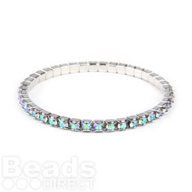 37E02 Swarovski Crystal Stretch Bracelet Rhodium Plated with Crystal Paradise Shine 18cm Pk1