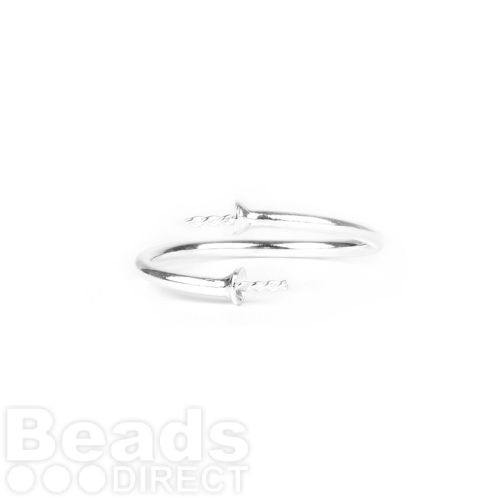 Sterling Silver 925 Ring Base for 2xHalf Drilled Beads Pk1