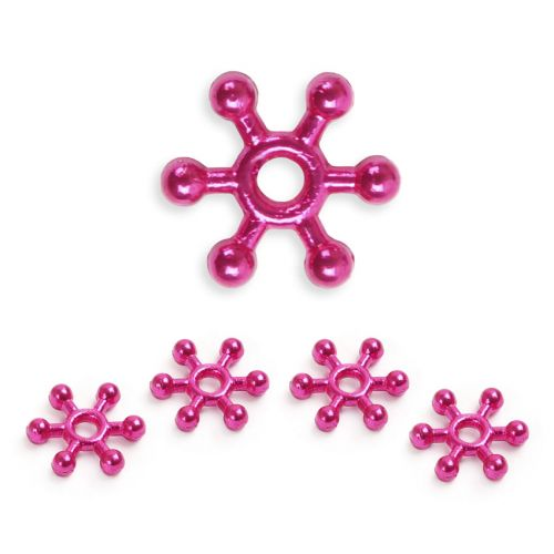 X- Hot Pink Colour Plated Snowflake Spacer Champagne Bubble Beads 10mm Pk50