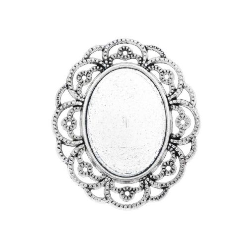 Necklace base / connector / for 18x25mm cabochon / 40x34x2.5mm / silver / 1pcs