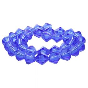 CrystaLove™ crystals / glass / bicone / 8mm / blue / transparent / 40pcs