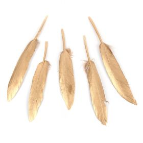 Shiny Gold Craft Feathers 120mm Pk5