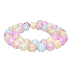 Ice crystal / round / 8mm / bright multicoloured / 48pcs