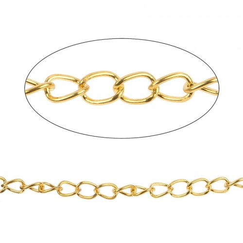 Gold Plated Iron Chain Pre Cut 11x15mm 1metre