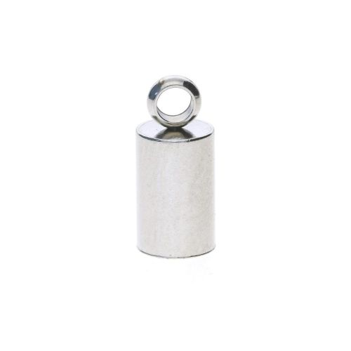 End cap / surgical steel / 11x5x5mm / silver / hole 4mm / 4pcs
