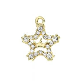 Glamm ™ Star with Crown / charm pendant / with zircons / 17.5x15.5mm  / gold plated / 1pcs