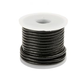 Black Round Leather 2mm Cord 5metre Reel