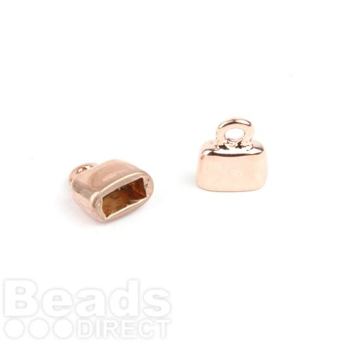Rose Gold Plated Flat Cord Ends 9x10mm for 5x2mm Cords 1xPair