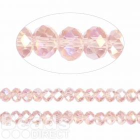 Essential Crystal Faceted 4mm Rondelle Pink AB 150pack