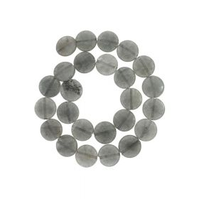 Agate / faceted disk / 15x15mm / grey / 26pcs