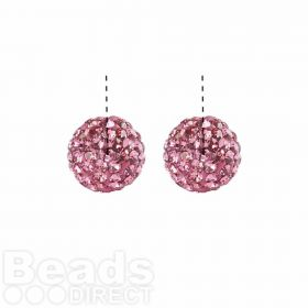 Pink Crystal Shamballa Fashion Half Drilled 6mm Round PACK 2