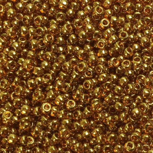 X- Toho Size 6 Round Seed Beads Gold Lustered Transparent Pink 10g