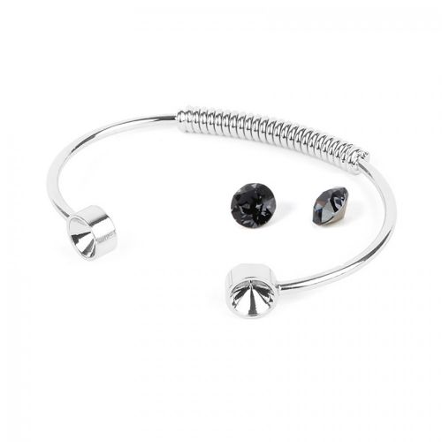 Silver Plated Coil Bangle Kit SS39 made with Swarovski Graphite F Pk1