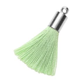 Tassel / viscose thread / silver end cap / 25mm / pistachio / 1pcs