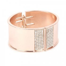 Rose Gold Plated Bangle Cuff Base with Crystals 65x60mm with diameter cord space-28mm Pk1