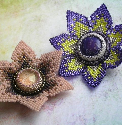 How to make a beaded cabochon flower - Step by step jewellery making  tutorial