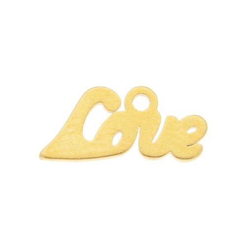Love / charm / surgical steel / 12x6mm / gold / 2pcs