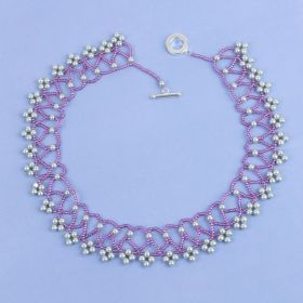 Violet Netted Collar Necklace made with Swarovski - Makes x1