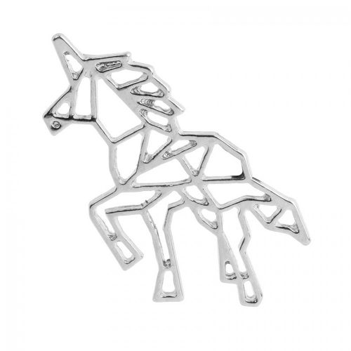 X- Silver Plated Origami Unicorn Charm 20x38mm Pk1