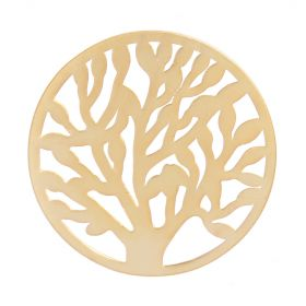 Matte Gold Plated Tree of Life Filigree Coin For Interchangeable Locket 32mm Pk1
