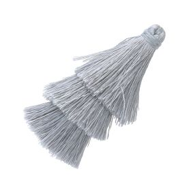 Tassel / viscose thread / triple layer / 70mm / width 7mm / grey / 1pcs