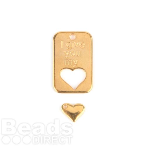 Gold Plated Zamak Charm Tag 19x30mm and Heart 10mm Pk1