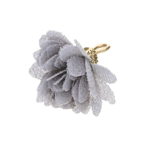 Tulle flower / with openwork tip / 18mm / Gold Plated / grey / 4 pcs