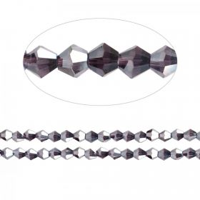 Essential Crystal 4mm Bicones Dark Purple AB Pk120