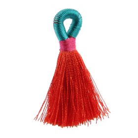 Coral/Mint/Fuchsia Loop Tassel 40mm Pk1