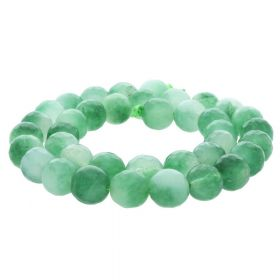 Agate / faceted round / 10mm / green-white / 35pcs
