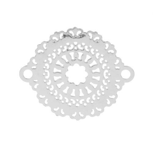 Rhodium Plated Filigree Flower Connector Charms 18x23mm Pk10
