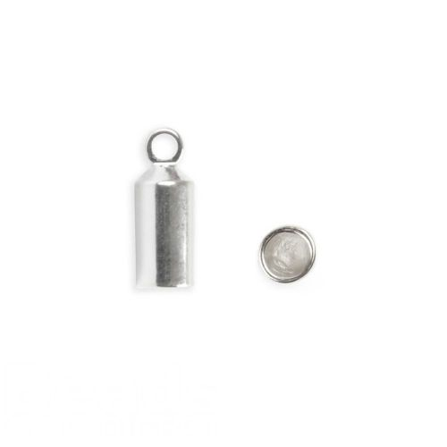 Silver Plated Barrel End Cap for 3mm Cord 10x4mm Pk2