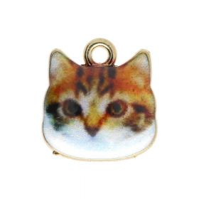 SweetCharm ™ Cat / pendant charms / 13x13x2.5mm / gold plated / brown / 2pcs